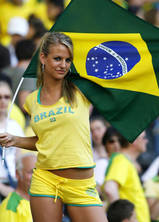 Brazil fan poses before the Group F World Cup 2006 soccer match between Brazil and Croatia in Berlin